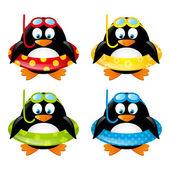 Komik yüzme penguenler — Stok Vektör