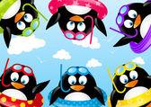 Natación graciosos pingüinos — Vector de stock