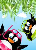 Legrační plavání tučňáci — Stock vektor
