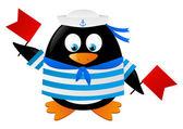 Penguen denizci ile kırmızı bayraklar — Stok Vektör