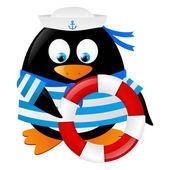 Marinero de pingüino con aro salvavidas — Vector de stock