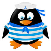 Cute penguin sailor isolated on white — Stock Vector