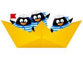 Penguin sailors in paper boat — Vecteur