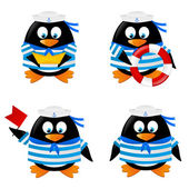 Penguins sailors — Stock Vector