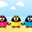 Cute penguins on sea background — Stock Vector #47454121