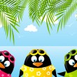 Cute penguins on summer background — Stock Vector #47454139