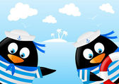 Cute penguin sailors on sea background — Stock Vector