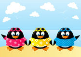 Cute penguins on sea background — Stock Vector