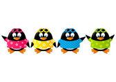 Pingüinos lindo vistiendo camisetas de color — Vector de stock