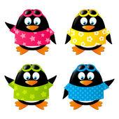 Set of funny penguins wearing shirts — ストックベクタ