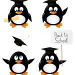 Set of cartoon student penguins — Stock Vector #47548097