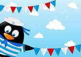 Cute penguin sailor with flags — Stock Vector