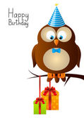 Birthday owl — Stock Vector