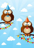 Birthday owls on sky background — Stock Vector