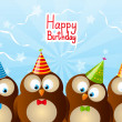 Birthday card with funny owls — Stock Vector