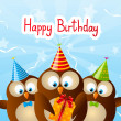 Cute Birthday owls for Your design — Stock Vector #48097021