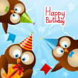 Cute Birthday owls for Your design — Stock Vector #48097023