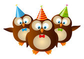 Cute Birthday owls isolated on white — Stock Vector