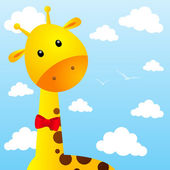 Funny giraffe on sky background — Stockvektor