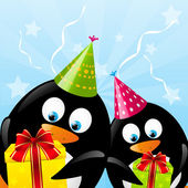 Funny Birthday penguins — Stock vektor