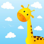 Funny giraffe on sky background — Vector de stock
