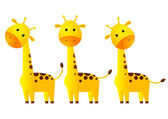 Funny giraffes isolated on white — Stock Vector