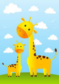 Funny giraffes on meadow — Stock Vector