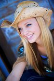 Attractive Blond Model Smiles While Wearing Cowboy Hat — Stock Photo