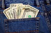 Back Jeans Pocket Full of Cash — Stock Photo