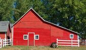 Red Wisconsin Barn With Door and Three Windows — Stockfoto