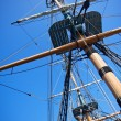 Sailing Ship Rigging and Blue Sky — Stock Photo