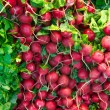Stack of Red Radishes in a Grocery Store Produce Department — Stock Photo