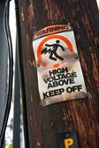 High Voltage-Keep Off Warning Sign — Stock Photo