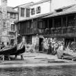 Gondolas workshop on the canal — Stock Photo