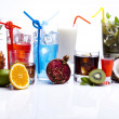 Cocktails, alcohol drinks with fruits — Stock Photo