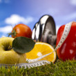 Food and measurement, fitness — Stock Photo #12734616