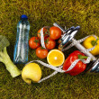 Fitness diet, vitamins and green grass — Foto Stock