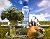 фитнес-центр и витамины — Стоковое фото