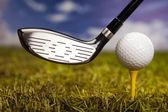 Hand and golf ball — Stock Photo