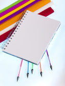 Back to school, Notepad with supplies — Stock Photo