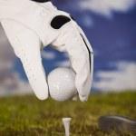 pelota de golf en tee — Foto de Stock