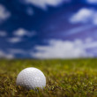 Golf ball on green grass over a blue sky — Photo