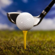 Playing golf, ball on tee — Stock Photo