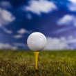 Golf ball on green grass over a blue sky — Stock Photo