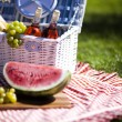 Picnic basket with fruit bread and wine — Stock Photo #13143187