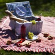 Picnic basket with fruit bread and wine - Stock Photo