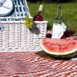 Picnic basket with fruit bread and wine — Stock Photo #13144682
