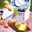 Stock Photo: Picnic basket with fruit bread and wine