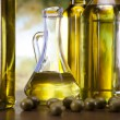 Fresh olives, olive oil — Stock Photo