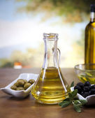 Olive oil and olives — Foto Stock